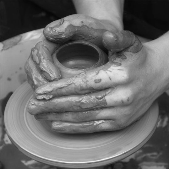 BW potters hand